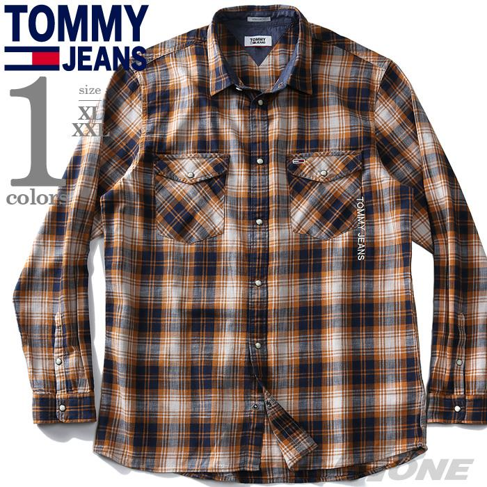 【冬最終】大きいサイズ メンズ TOMMY JEANS トミージーンズ チェック柄 ウエスタン シャツ USA直輸入 dm0dm08396