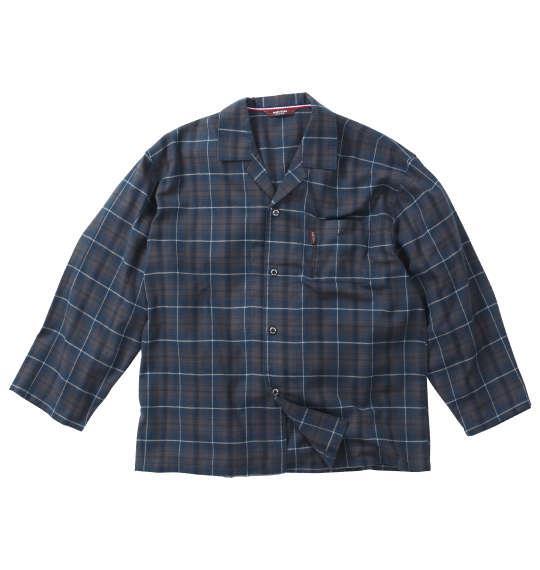 大きいサイズ メンズ marie claire homme ツイル 起毛 チェック 長袖 パジャマ ブルー × ブラウン 1259-0302-1 3L 4L 5L 6L 8L
