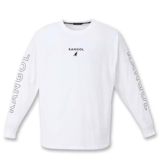 大きいサイズ メンズ KANGOL 天竺 長袖 Tシャツ オフホワイト 1278-0385-1 3L 4L 5L 6L