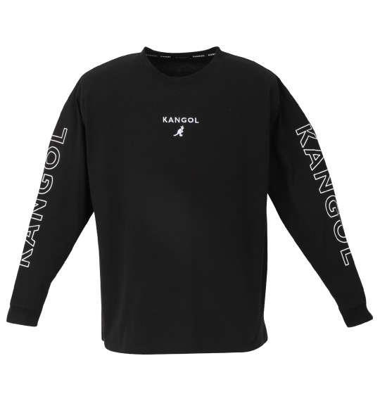 大きいサイズ メンズ KANGOL 天竺 長袖 Tシャツ ブラック 1278-0385-2 3L 4L 5L 6L