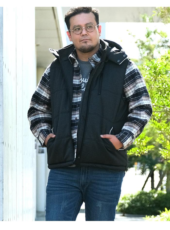 大きいサイズ メンズ DANIEL DODD 杢柄 ポンチ 中綿 ベスト 秋冬新作 936-b200501