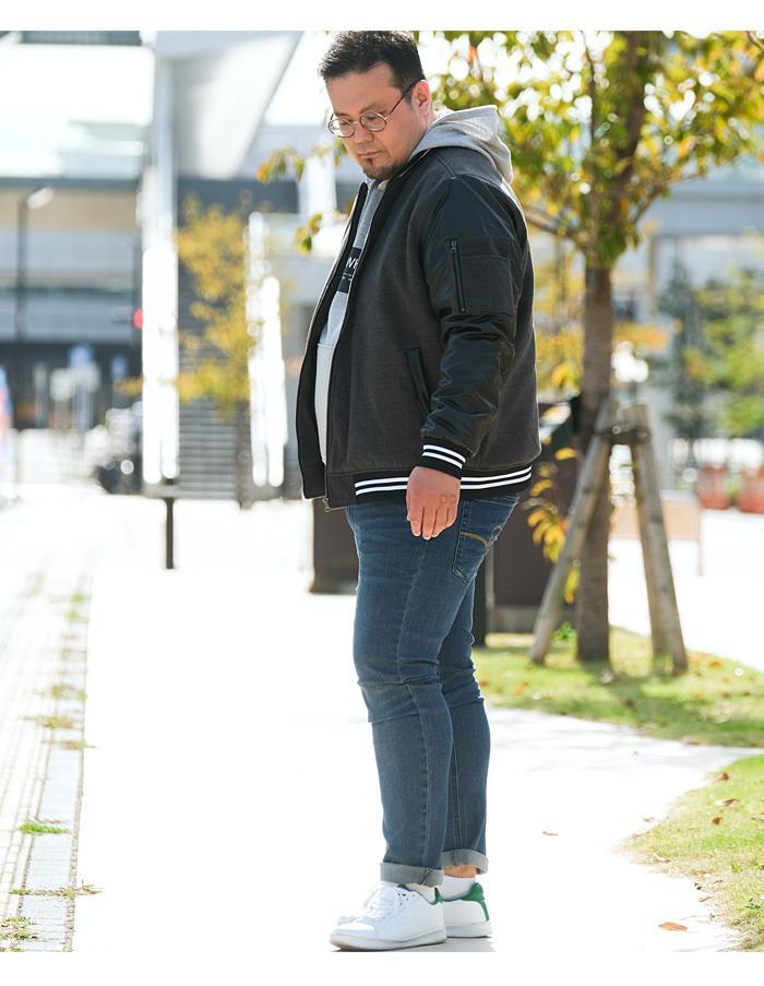 【冬最終】大きいサイズ メンズ DANIEL DODD 袖PU スタジアム ジャンパー スタジャン 936-b200505