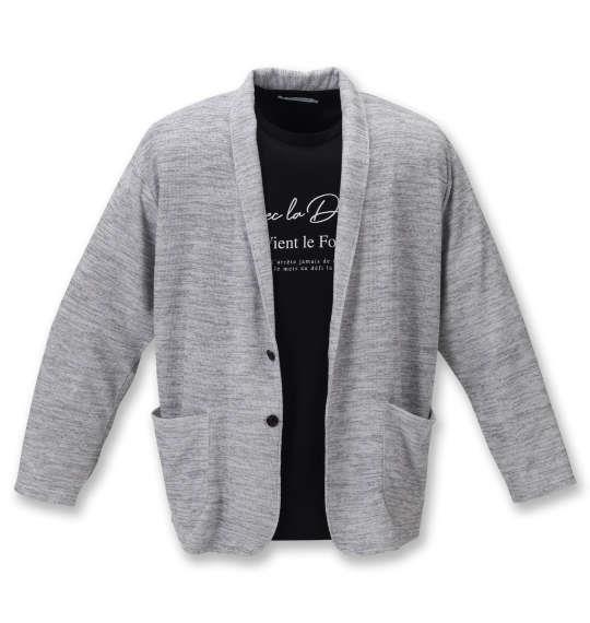 大きいサイズ メンズ launching pad スラブ 杢ワッフル ショール ジャケット + 半袖 Tシャツ ホワイト杢 × ブラック 1258-1121-1 3L 4L 5L 6L
