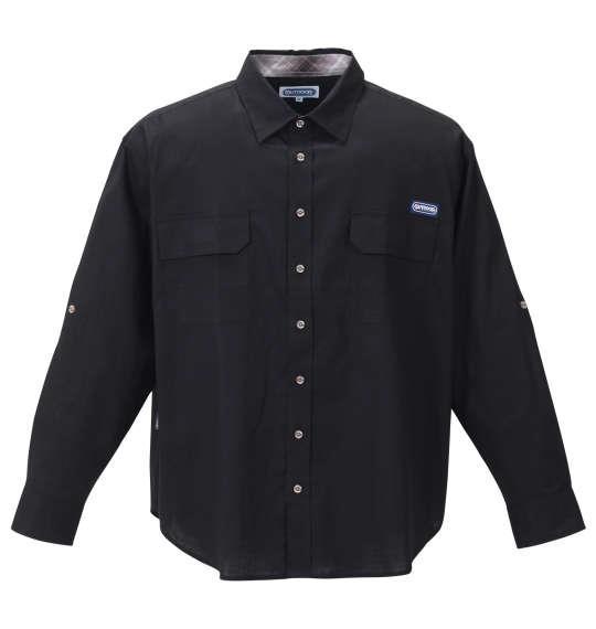 大きいサイズ メンズ OUTDOOR PRODUCTS 綿麻 ロールアップ 長袖 シャツ ブラック 1257-1120-2 3L 4L 5L 6L 8L