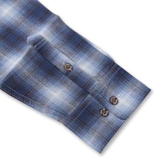 大きいサイズ メンズ OUTDOOR PRODUCTS 綿麻 ロールアップ オンブレチェック 長袖 シャツ ブルー 1257-1121-1 3L 4L 5L 6L 8L