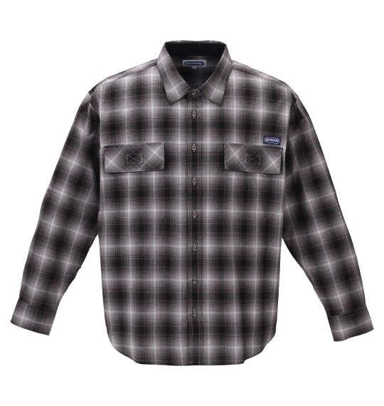 大きいサイズ メンズ OUTDOOR PRODUCTS 綿麻 ロールアップ オンブレチェック 長袖 シャツ ブラック 1257-1121-2 3L 4L 5L 6L 8L