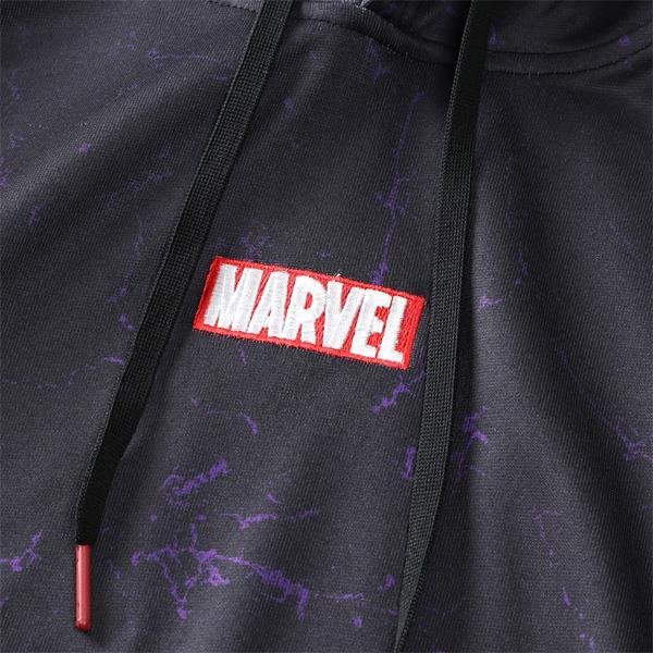 大きいサイズ メンズ MARVEL マーベル ロゴ + 総柄 プリント プルオーバー パーカー azm05156