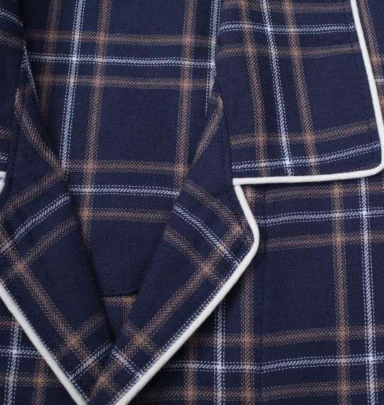 大きいサイズ メンズ marie claire homme ツイル チェック 長袖 パジャマ ネイビー 1259-1100-2 3L 4L 5L 6L 8L