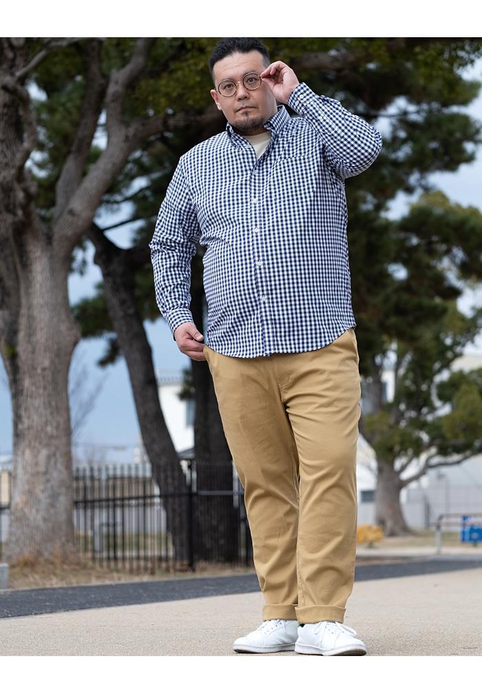 【aki-shi】【ga0722】大きいサイズ メンズ DANIEL DODD 長袖 ストレッチ ブロード チェック ボタンダウン シャツ 651-210111