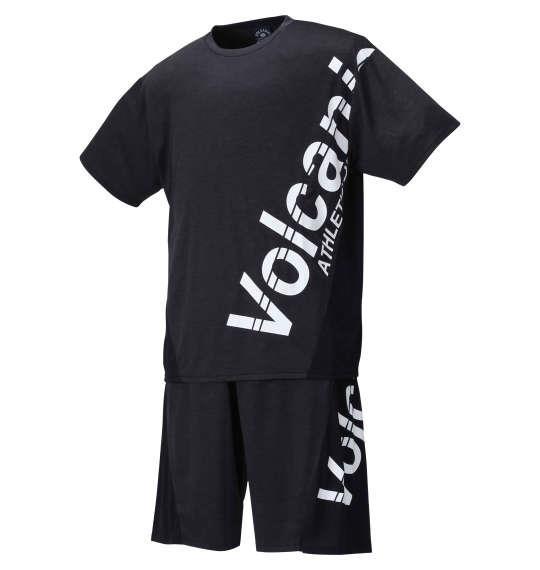 大きいサイズ メンズ VOLCANIC カチオン 天竺 切替 半袖 Tシャツ + ハーフパンツ ブラック杢 1258-1260-2 3L 4L 5L 6L