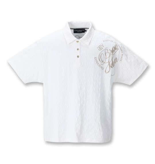 大きいサイズ メンズ GLADIATE ALL刺繍ブロックジャガード 半袖 ポロシャツ ホワイト 1258-1551-1 3L 4L 5L 6L 8L