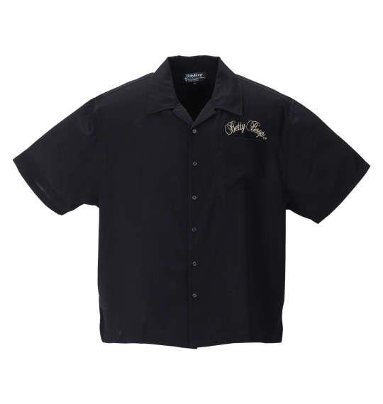 大きいサイズ メンズ BETTY BOOP 刺繍 ストレッチ 半袖 オープンカラー シャツ ブラック 1277-1210-1 3L 4L 5L 6L 8L
