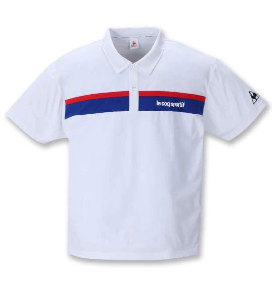 大きいサイズ メンズ LE COQ SPORTIF ストレッチ ファイバー 半袖 ポロシャツ ホワイト 1278-1223-1 2L 3L 4L 5L 6L