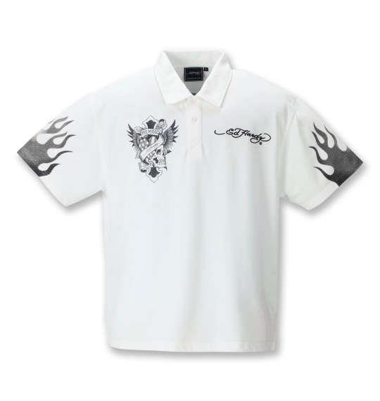 大きいサイズ メンズ Ed Hardy 刺繍 & プリント 鹿の子 半袖 ポロシャツ オフホワイト 1278-1292-1 3L 4L 5L 6L 8L
