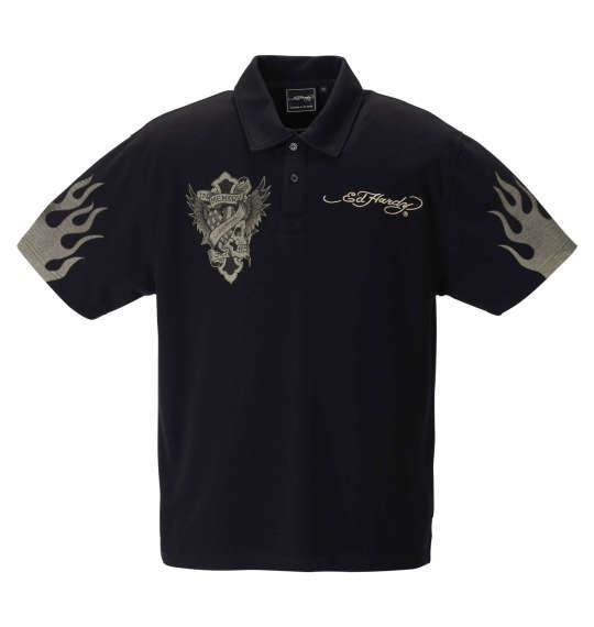 大きいサイズ メンズ Ed Hardy 刺繍 & プリント 鹿の子 半袖 ポロシャツ ブラック 1278-1292-2 3L 4L 5L 6L 8L