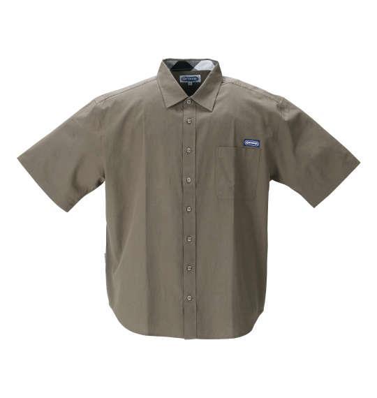 大きいサイズ メンズ OUTDOOR PRODUCTS 綿麻 半袖 シャツ カーキ 1257-1200-3 3L 4L 5L 6L 8L
