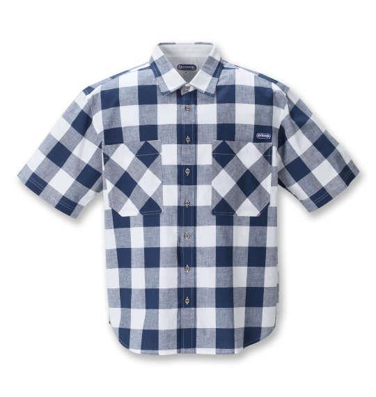 大きいサイズ メンズ OUTDOOR PRODUCTS 綿麻 ブロック チェック 半袖 シャツ ネイビー × ホワイト 1257-1201-1 3L 4L 5L 6L 8L