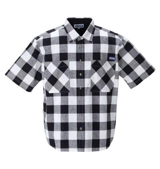 大きいサイズ メンズ OUTDOOR PRODUCTS 綿麻 ブロック チェック 半袖 シャツ ブラック × ホワイト 1257-1201-2 3L 4L 5L 6L 8L