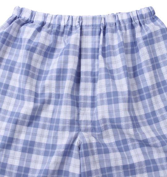 大きいサイズ メンズ marie claire homme DRY サッカー チェック 半袖 パジャマ サックス 1259-1231-2 3L 4L 5L 6L 8L