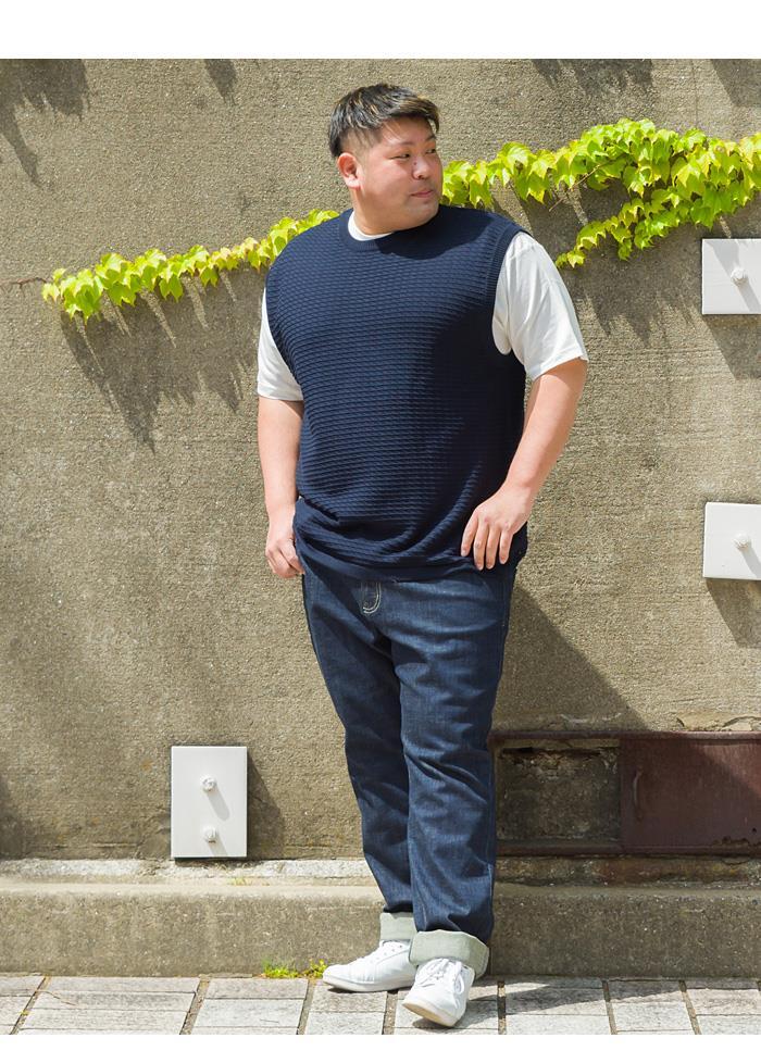 【Fbar210610】【sb0511】大きいサイズ メンズ PLEGGI プレッジ 無地 ジャガード ベスト付き 半袖 Tシャツ アンサンブル 春夏新作 61-43039-2