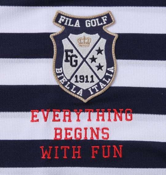 【golf1】大きいサイズ メンズ FILA GOLF ボーダー ラガー 半袖 シャツ ネイビー 1278-1271-1 3L 4L 5L 6L