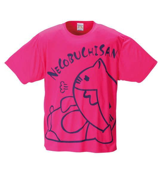 大きいサイズ メンズ NECOBUCHI-SAN DRY ハニカムメッシュ 半袖 Tシャツ ショッキングピンク 1258-1271-1 3L 4L 5L 6L