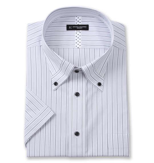 大きいサイズ メンズ HIROKO KOSHINO HOMME マイター B.D 半袖 シャツ ホワイト × グレー 1277-1262-1 4L 5L 6L 7L 8L 9L