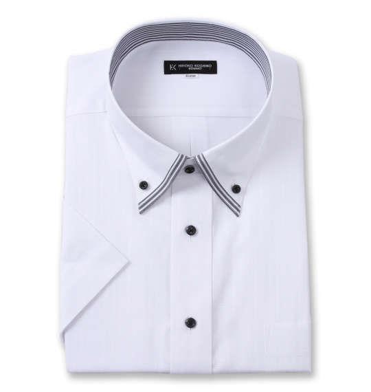 大きいサイズ メンズ HIROKO KOSHINO HOMME 2枚衿風マイター B.D 半袖 シャツ ホワイト 1277-1263-1 4L 5L 6L 7L 8L 9L