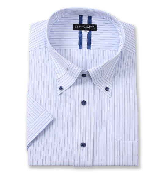 大きいサイズ メンズ HIROKO KOSHINO HOMME マイター B.D 半袖 シャツ ホワイト × ブルー 1277-1265-1 3L 4L 5L 6L 7L 8L