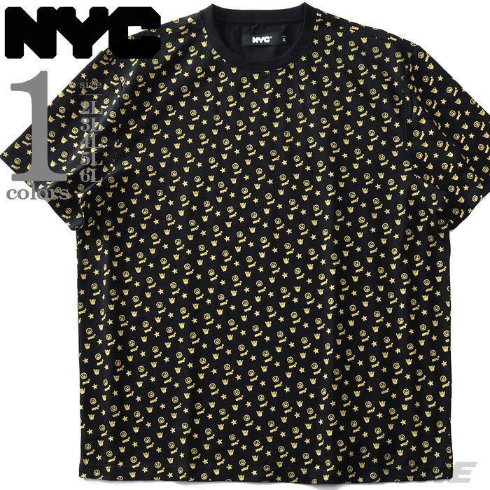 大きいサイズ メンズ NYC ヘビーウェイト プリント 総柄 半袖 Tシャツ 春夏新作 nyc-t210290