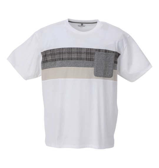 大きいサイズ メンズ Free gate 汗じみ軽減 チェック切替 半袖 Tシャツ ホワイト 1258-1222-1 3L 4L 5L 6L 8L