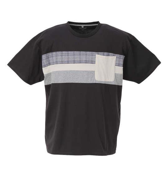 大きいサイズ メンズ Free gate 汗じみ軽減 チェック切替 半袖 Tシャツ チャコール 1258-1222-2 3L 4L 5L 6L 8L