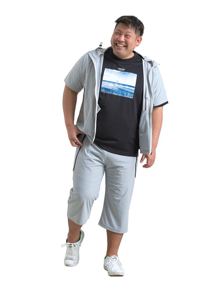 【ga0722】大きいサイズ メンズ LINKATION セットアップ 7分丈 パンツ ハーフパンツ ストレッチ アスレジャー スポーツウェア 春夏新作 la-sp210201