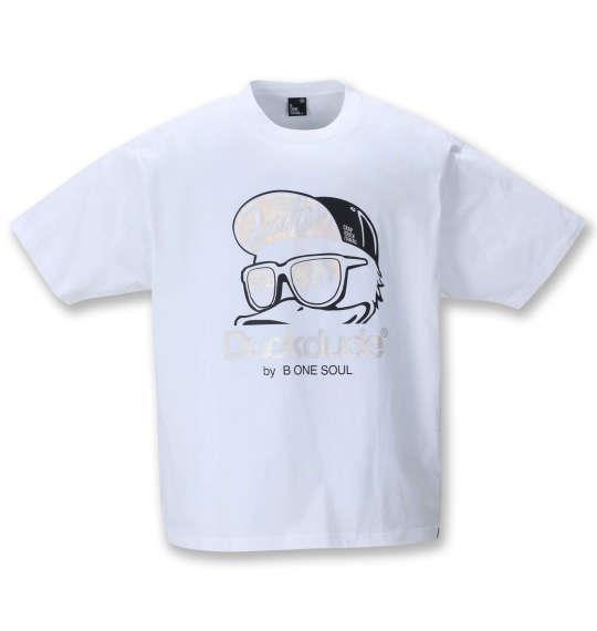 大きいサイズ メンズ b-one-soul DUCK DUDE メタリック 半袖 Tシャツ ホワイト 1258-1521-1 3L 4L 5L 6L