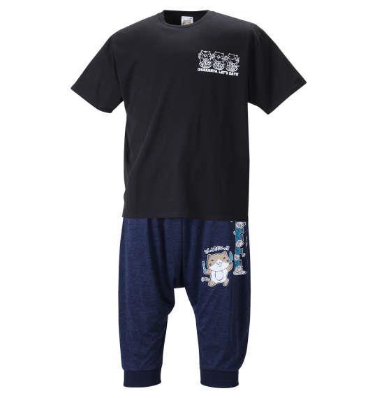 大きいサイズ メンズ NECOBUCHI-SAN 天竺 半袖 Tシャツ + カチオン 七分丈 サルエル パンツ ブラック × ネイビー杢 1258-1272-2 3L 4L 5L 6L