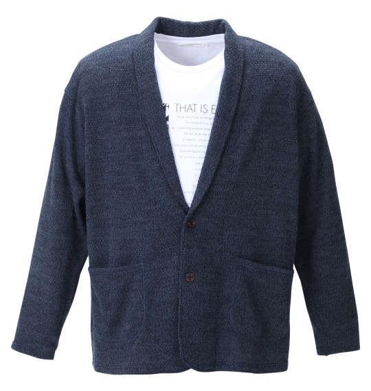 大きいサイズ メンズ launching pad 甘編み ニット ショール ジャケット + 半袖 Tシャツ ネイビー × ホワイト 1258-1310-1 3L 4L 5L 6L