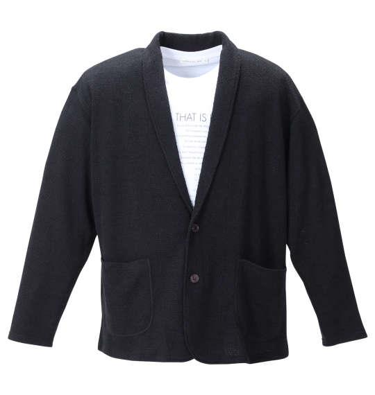 大きいサイズ メンズ launching pad 甘編み ニット ショール ジャケット + 半袖 Tシャツ ブラック × ホワイト 1258-1310-2 3L 4L 5L 6L