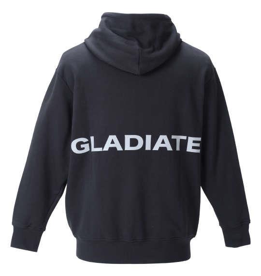 大きいサイズ メンズ GLADIATE リフレクタープリント フルジップ パーカー ブラック 1258-1320-1 3L 4L 5L 6L