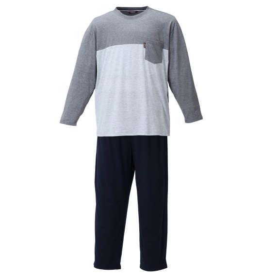 大きいサイズ メンズ marie claire homme TC天竺切替 長袖 Tシャツ セット チャコール 1259-1311-1 3L 4L 5L 6L 8L
