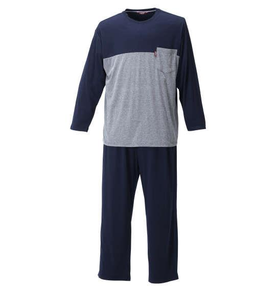 大きいサイズ メンズ marie claire homme TC天竺切替 長袖 Tシャツ セット ネイビー 1259-1311-2 3L 4L 5L 6L 8L