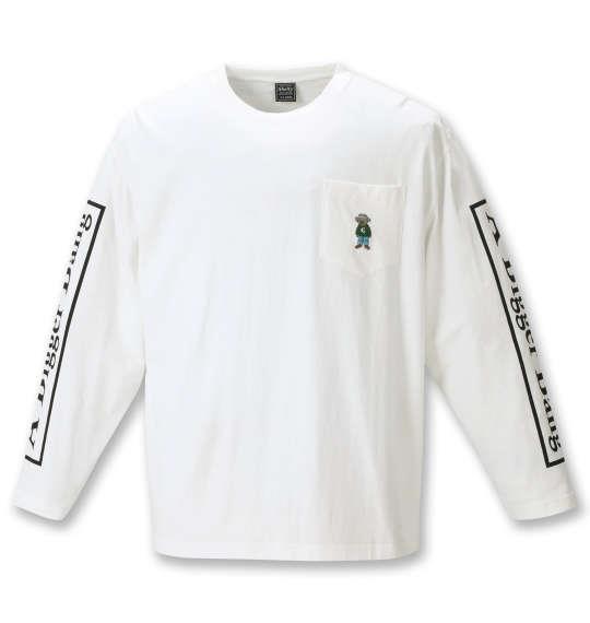 大きいサイズ メンズ SHELTY 天竺ベア刺繍 ポケット付 長袖 Tシャツ オフホワイト 1268-1310-1 3L 4L 5L 6L