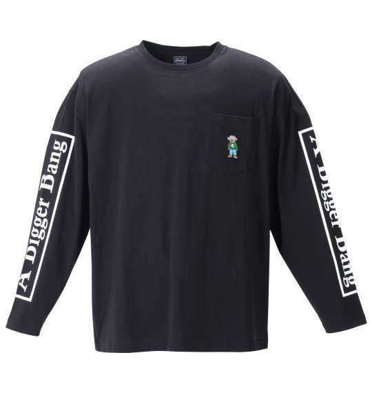 大きいサイズ メンズ SHELTY 天竺ベア刺繍 ポケット付 長袖 Tシャツ ブラック 1268-1310-2 3L 4L 5L 6L