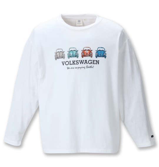 大きいサイズ メンズ VOLKSWAGEN 天竺 長袖 Tシャツ ホワイト 1268-1350-1 3L 4L 5L 6L 8L