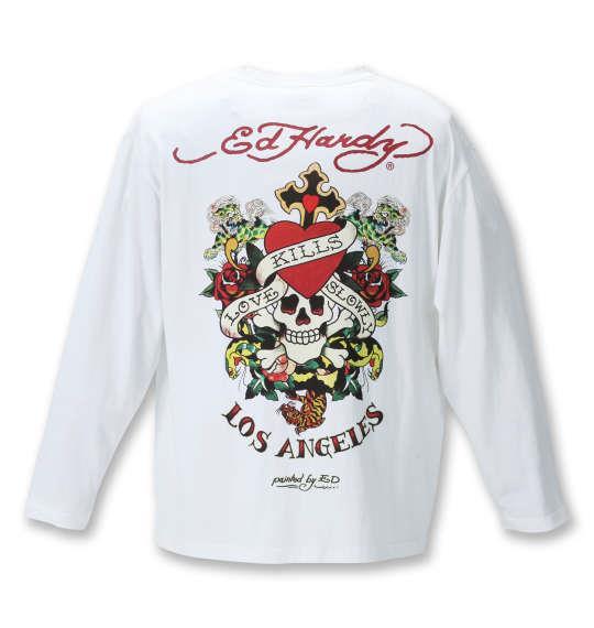 大きいサイズ メンズ Ed Hardy 天竺プリント 長袖 Tシャツ オフホワイト 1278-1315-1 3L 4L 5L 6L