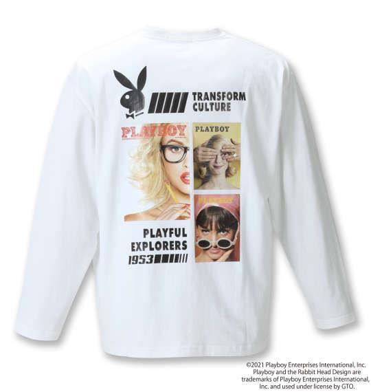 大きいサイズ メンズ PLAYBOY 天竺プリント 長袖 Tシャツ オフホワイト 1278-1335-1 3L 4L 5L 6L