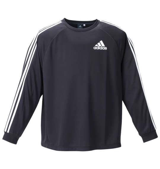 大きいサイズ メンズ adidas 長袖 Tシャツ ブラック 1278-1360-1 3XO 4XO 5XO 6XO 7XO 8XO
