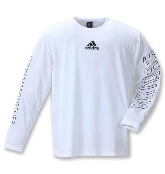 大きいサイズ メンズ adidas 長袖 Tシャツ ホワイト 1278-1361-1 3XO 4XO 5XO 6XO 7XO 8XO