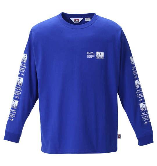 大きいサイズ メンズ BEN DAVIS 天竺 長袖 Tシャツ ブルー 1278-1620-1 3L 4L 5L 6L