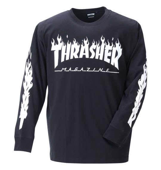 大きいサイズ メンズ THRASHER 長袖 Tシャツ ブラック 1278-1650-2 3L 4L 5L 6L 8L