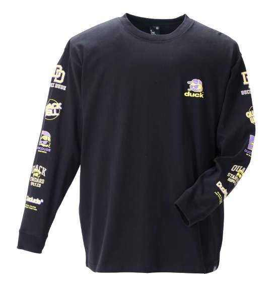 大きいサイズ メンズ b-one-soul DUCK DUDE 長袖 Tシャツ ブラック 1258-1600-2 3L 4L 5L 6L